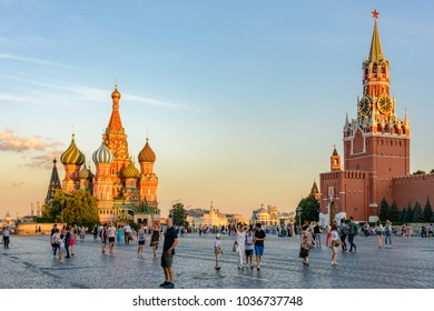 Red Square, Moscow, Russia - August 1, 2017: Tourists on Red Square near the Kremlin in Moscow