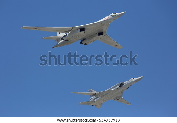 RED SQUARE, MOSCOW, RUSSIA - MAY 7, 2017: Tupoloev Tu-160 RF-94100 and Tupolev Tu-22M-3 strategic bombers of Russian Air Force during Victory Day parade rehearsal.