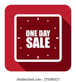 Red Square One Day Sale Text With Clock, Watch Flat Long Shadow Style Icon, Label, Sticker, Sign or Banner Isolated on White Background