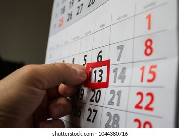 Red square reminder on calendar on friday 13th|unluck|bad luck|superstition