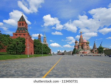 Red Square, St. Basil's cathedral and Moscow Kremlin. The Kremlin was built in the 15 Century.