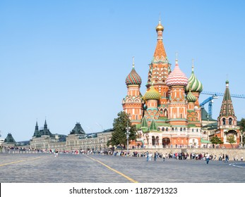 Red Square and Vasily the Blessed Cathedral in Moscow city in sunny september day