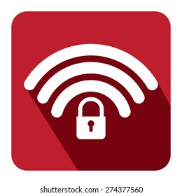 Red Square WiFi and Bluetooth Lock Sign Flat Long Shadow Style Icon, Label, Sticker, Sign or Banner Isolated on White Background