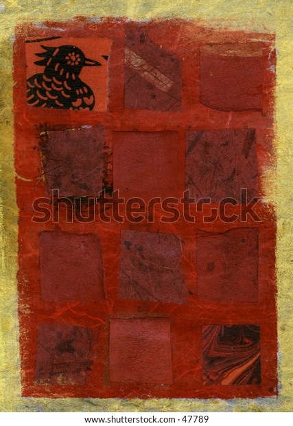 Red squares with a single hen. Mix media collage.