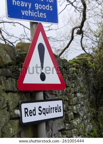 red squirrles sign near pendragon castlenear の写真素材 今すぐ編集