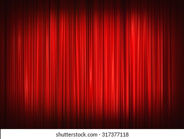 Red stage curtain on theater, illustration