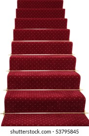 A red stair carpet with traditional brass rods, isolated on white
