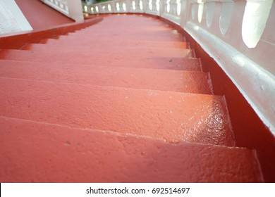 Red Stair Of The Mountain Temple In Bangkok,Thailand With Sun Light