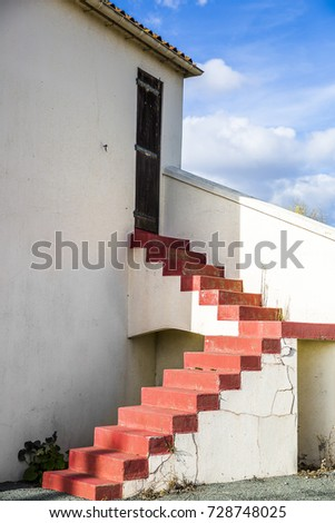 Red Stairs Outside House Blue Sky Stock Photo Edit Now 728748025