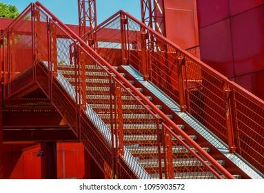 red stairs, Parc de la Villette Paris