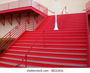 Red stairway at the southern entrance to the main building at The Pike, Long Beach, CA