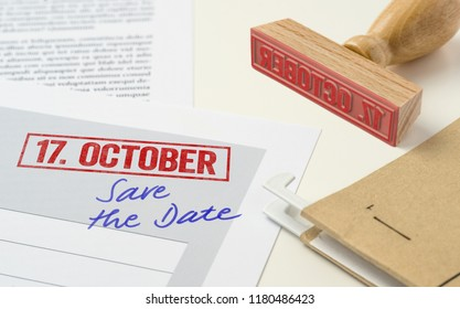 A red stamp on a document - October 17