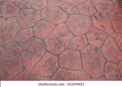 Red Stamped Concrete