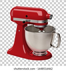 Red stand or kitchen mixer perspective view on isolated background including clipping path.