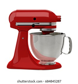 Red stand mixer on white background including clipping path.