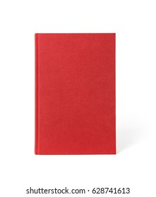 Red standing hardcover book isolated, front view