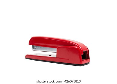 Red stapler isolated on a white background