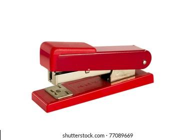 Red Stapler isolated on white