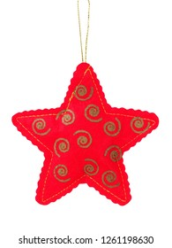 Red star as Christmas tree decoration isolated on white background