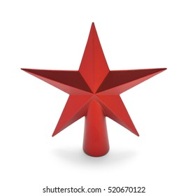 Red Star Christmas Tree Topper Isolated on White Background.