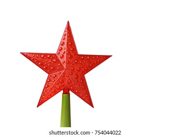 Red star, designed to decorate the Christmas tree. Isolated on white background.
