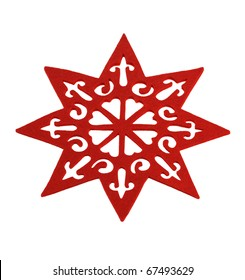Red star isolated over white background