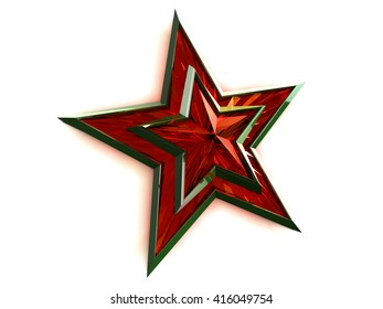 Red star tied with Saint George ribbon on white background. Russian text, which is depicted in the picture translated into English Congratulations an Victory Day. 3D rendering.
