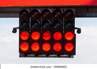Red Start Lights in a Racing Circuit