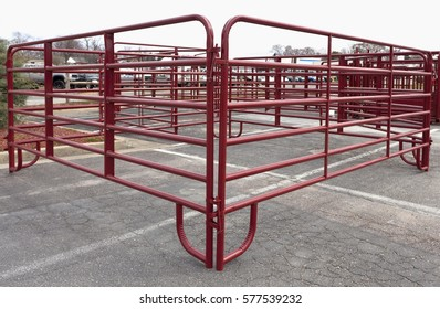 Red steel farm corral for sale.