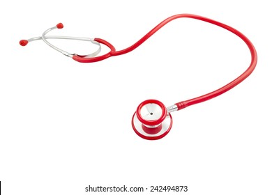 Red stethoscope on white background twisted separated,clipping  path included