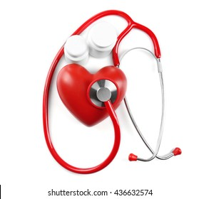 Red stethoscope and pills isolated on white