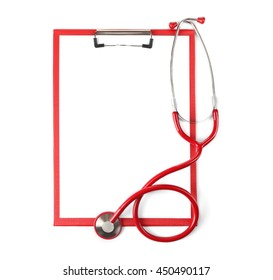 Red stethoscope and prescription isolated on white