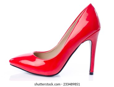 Red stiletto shoe, isolated on white