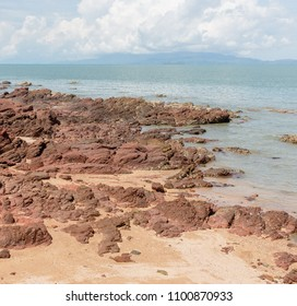 red stone on the beach of petra national park in satun, thailand