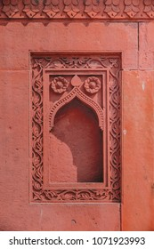 Red stone window design, India