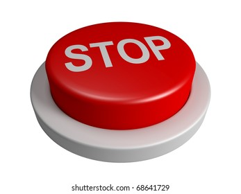 Red stop button isolated on white