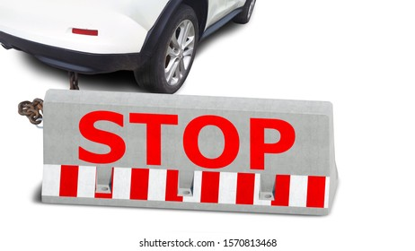 red stop lettering on concrete road barrier linked to modern car by metal chain isolated on white background. Closeup view of vehicle and road block. Mixed media. Stop driving restriction drive theme