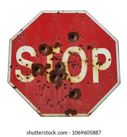 Red Stop Sign isolated on white background. Danger concept.