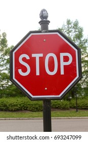 The red stop sign on a close up view.