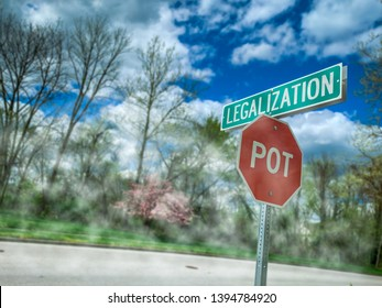 """Red Stop Sign and Street Sign Illustration Next to a Sunny Suburban Street - """"Stop"""" has been replaced with """"Pot"""" to Indicate Marijuana Use and Legalization"""