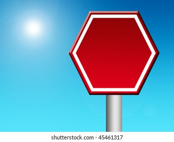 Red stop signal over blue sky background. Blank illustration, insert your text or design