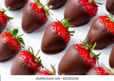 red strawberries dipped in chocolate top view