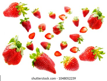 red strawberries isolated on a white background