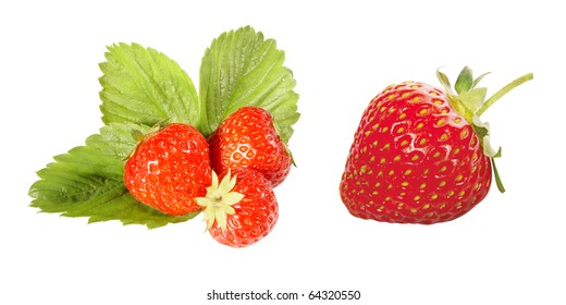 Red strawberries with leaf isolated on white background