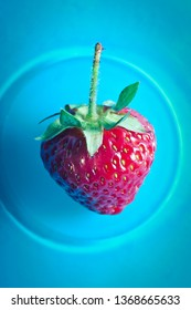 red strawberry fruit on a blue plate