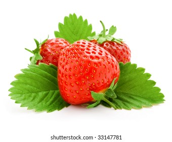 red strawberry fruits with green leaves isolated on white background