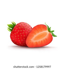 Red Strawberry and Half of strawberry  fruits realistic illustration isolated on white background.