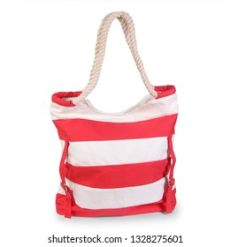Red striped beach bag isolated white background