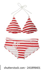 Red Striped Bikini isolated on white background