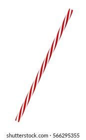 Red striped drinking straw isolated on white.  Includes clipping path.